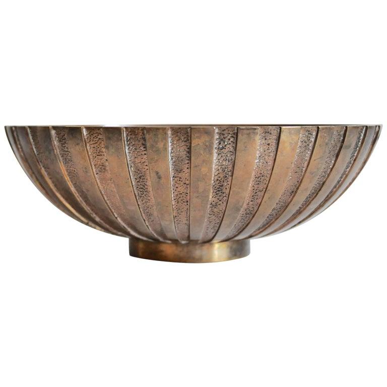 Large Bronze Bowl By Tinos Denmark Art Deco 1940s Bronze Modern Bowl Bowl