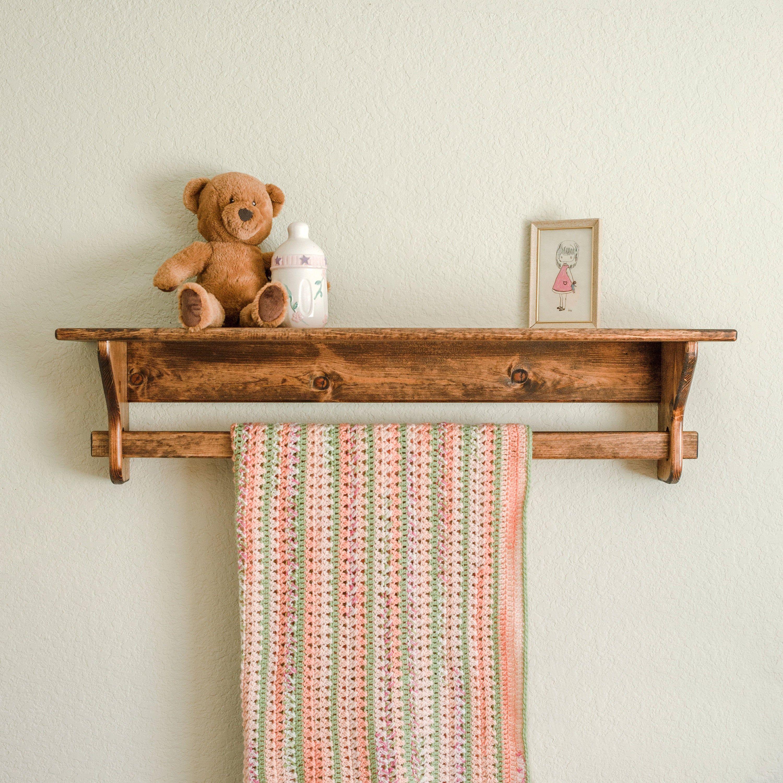 Farmhouse Quilt Rack w Shelf Blanket Holder Display