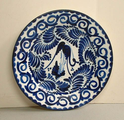 Blue and White Stork Plate
