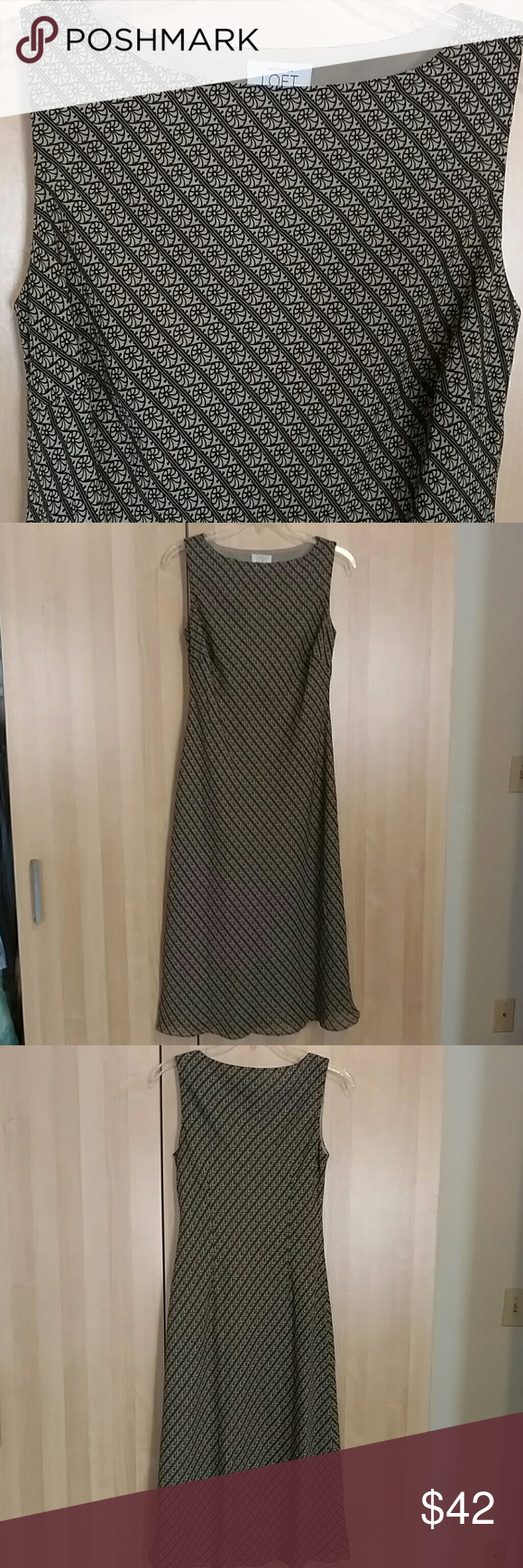 """Sleeveless long shift dress This is a vintage (90s) Ann Taylor Loft dress featuring a black on taupe pattern.  It is about 43"""" from neck to hem.  In excellent vintage condition, rarely, if ever worn. Ann Taylor Dresses"""