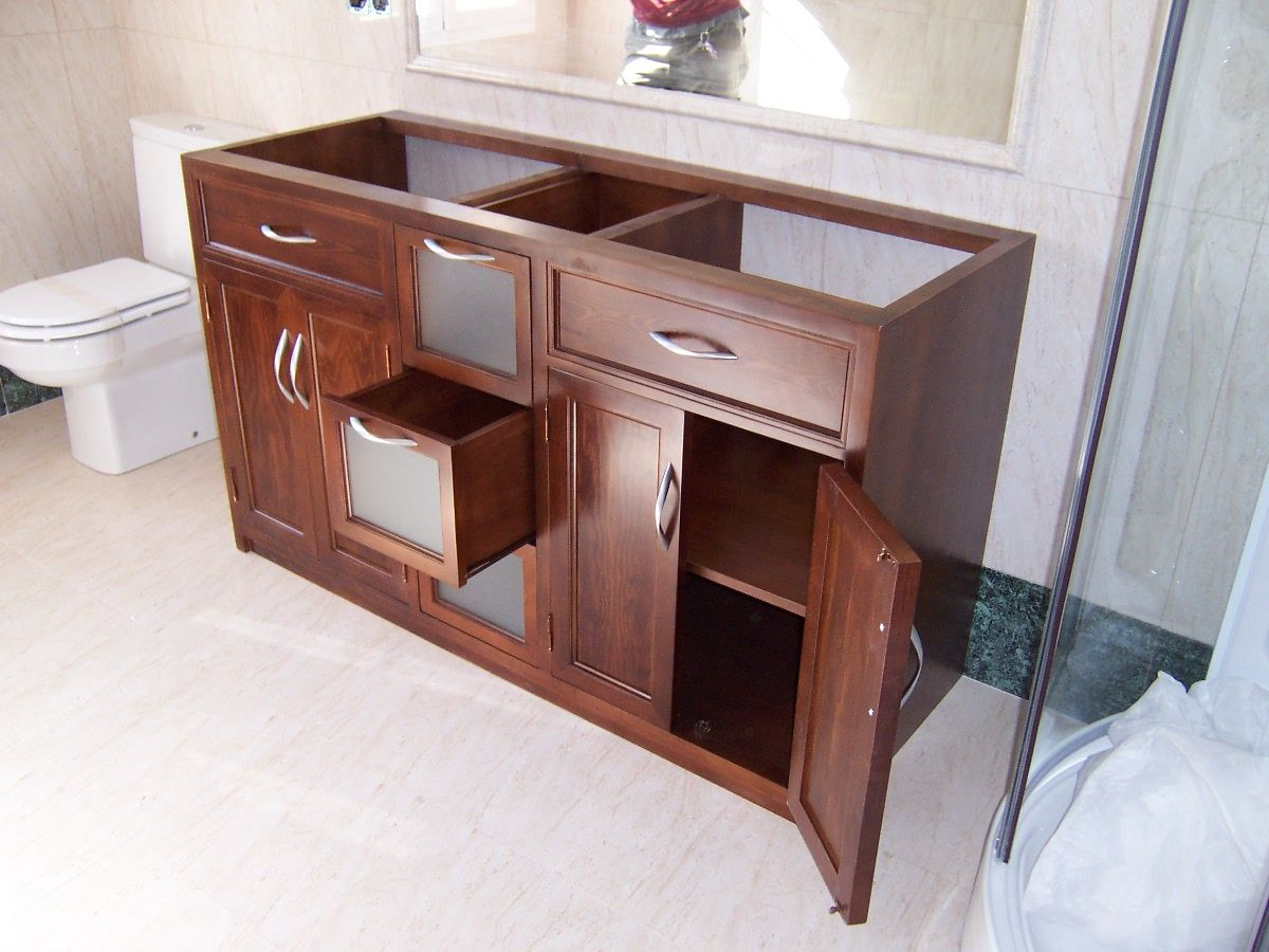 Mueble para bajo lavabos dos senos con puertas y for Mueble bano dos senos 150