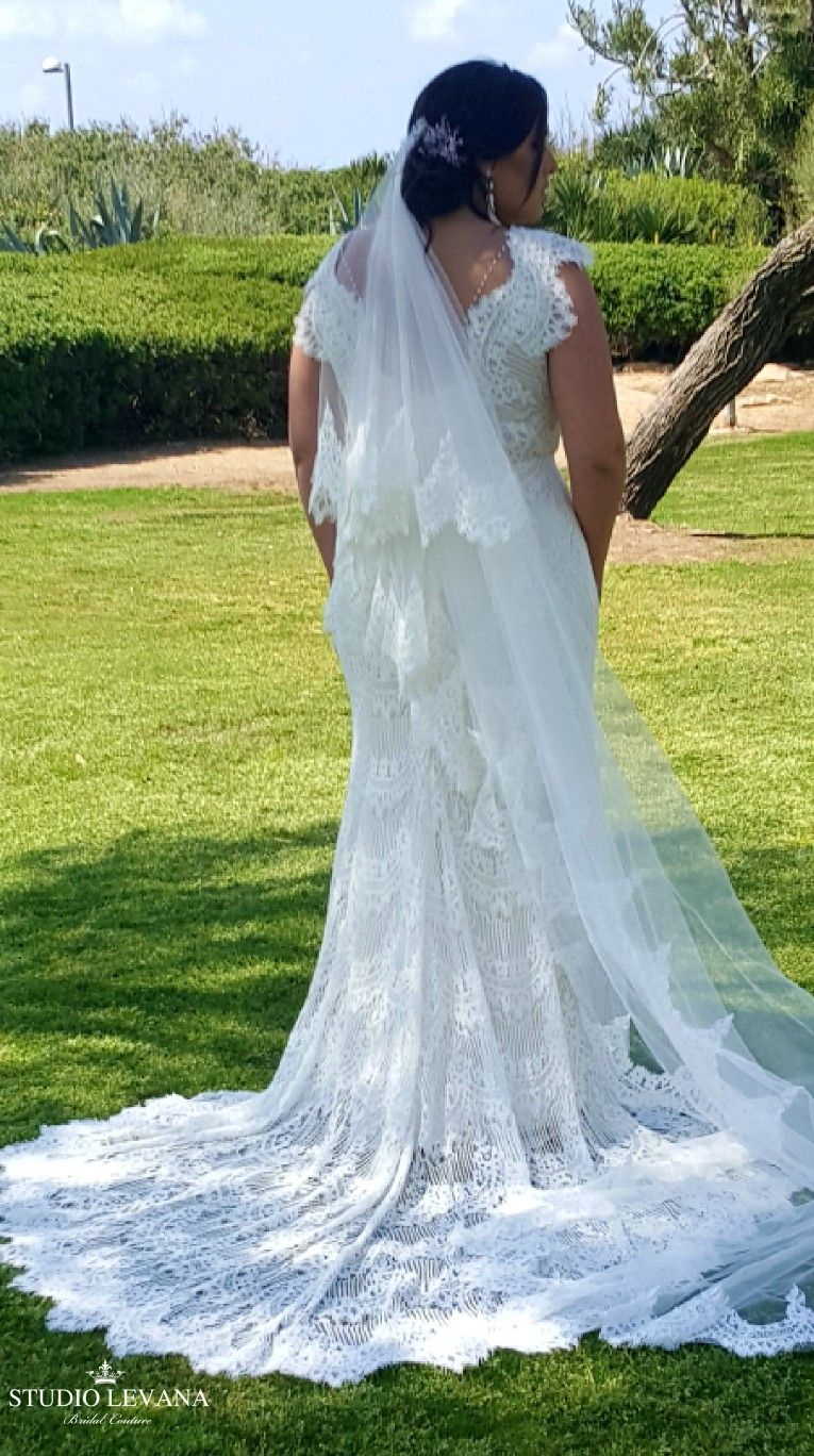 Plus Size Bohemian Mermaid Lace Wedding Gown With A Long Train And Short Cap Sleeves Esme S Applique Wedding Dress Wedding Gowns Lace Plus Size Wedding Gowns [ 1368 x 765 Pixel ]