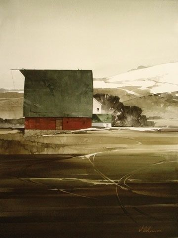 """2006, Red Barn Composition #5 by Joseph Alleman Watercolor ~ 30"""" x 22"""""""