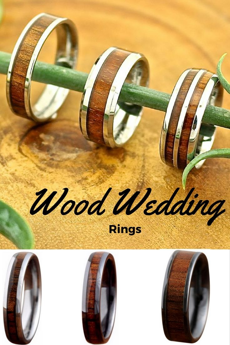 Wood wedding bands for men and women. They have wood rings