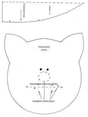 Gato cojín en tela con patrón | Gatos de tela, Patrones