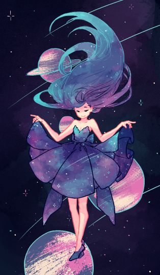 Outer Space Dress Anime Art Pretty Art Drawings