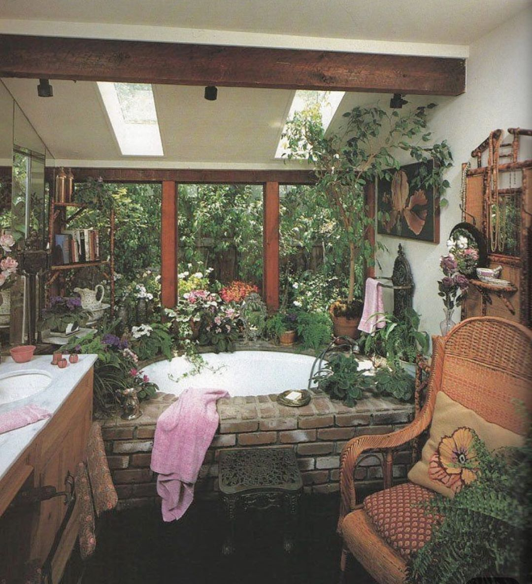 Brick Wicker And Ferns Oh My This Bathroom From 1982 Is