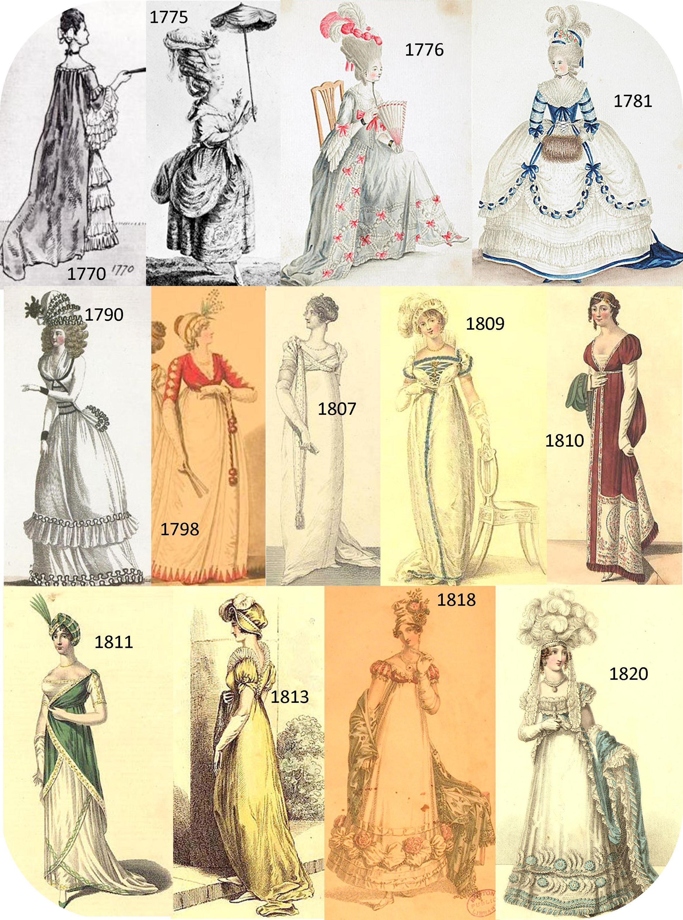 Late 1700s Early 1800s Fashion Plate This Shows The Growth Of Through 1700 And There Is Goth Bustle Etc