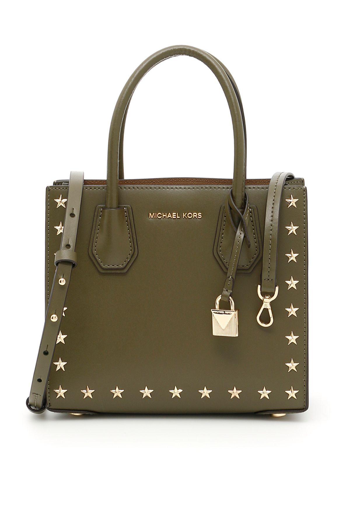 MICHAEL MICHAEL KORS SMALL MERCER STUDS TOTE BAG. #michaelmichaelkors #bags #shoulder bags #hand bags #leather #tote #lining #