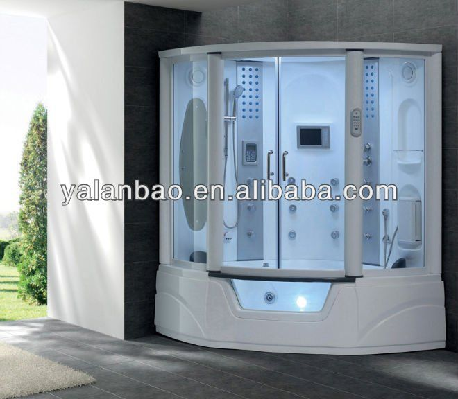 Prefabricated Bathroom Corner Steam Shower Room With Remote ...