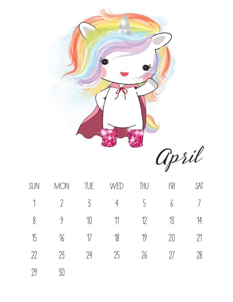 Free Printable 2018 Pop Culture Unicorn Calendar *Print