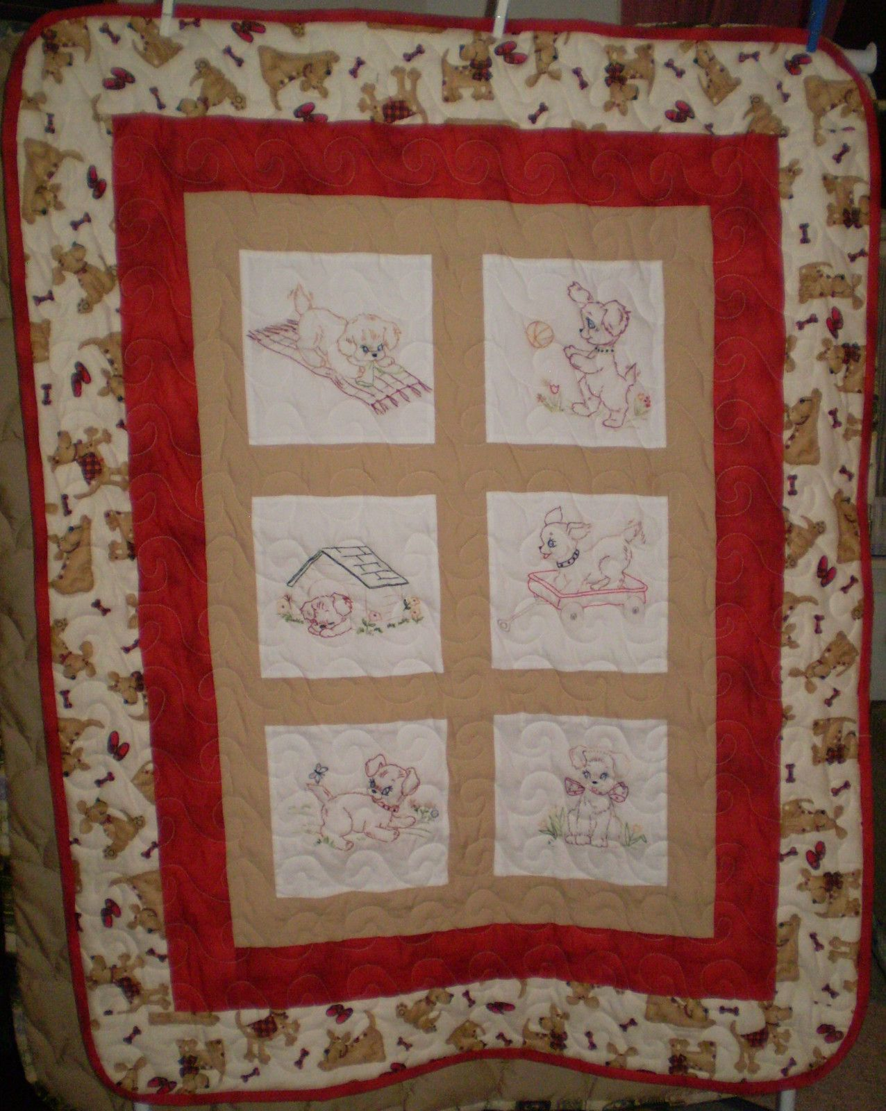 Puppies/Puppy/Dogs Hand embroidered Baby Quilt | For the Home ... : baby quilts to embroider - Adamdwight.com