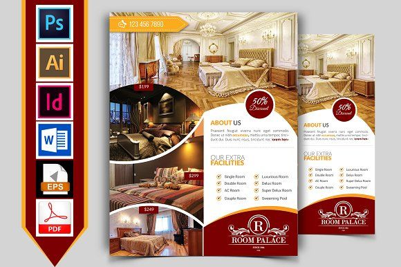 Hotel Flyer Template Vol-03 | Flyer template, Flyer size and Adobe ...
