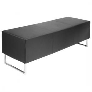 Magnificent Blockette Bench Seat In Black Faux Leather With Chrome Legs Gamerscity Chair Design For Home Gamerscityorg