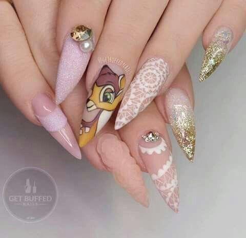 Unas De Disney Disney Acrylic Nails Buff Nails Disney Nails