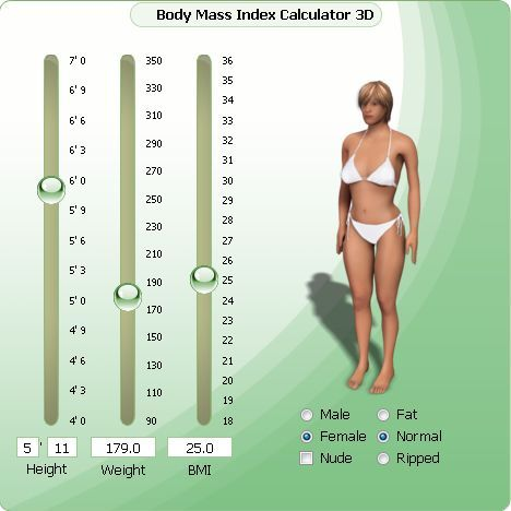 Body Mass Index Calculator With D Body View  Bmi Chart For
