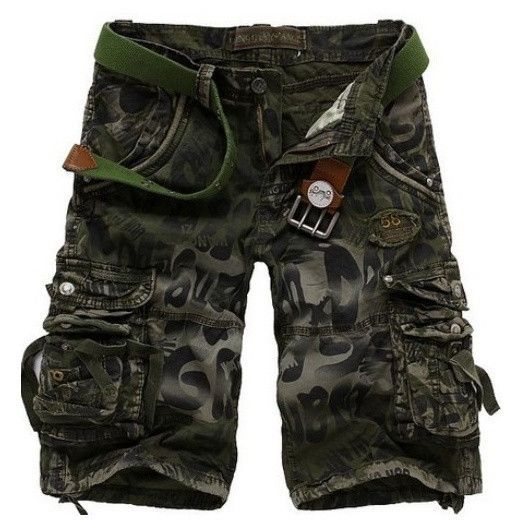 Men Fashion Army Cargo Combat Camo Camouflage Overall Shorts Sports Casual Pants