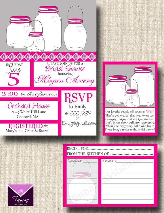 printable mason jar bridal shower invitations recipe cards with poem