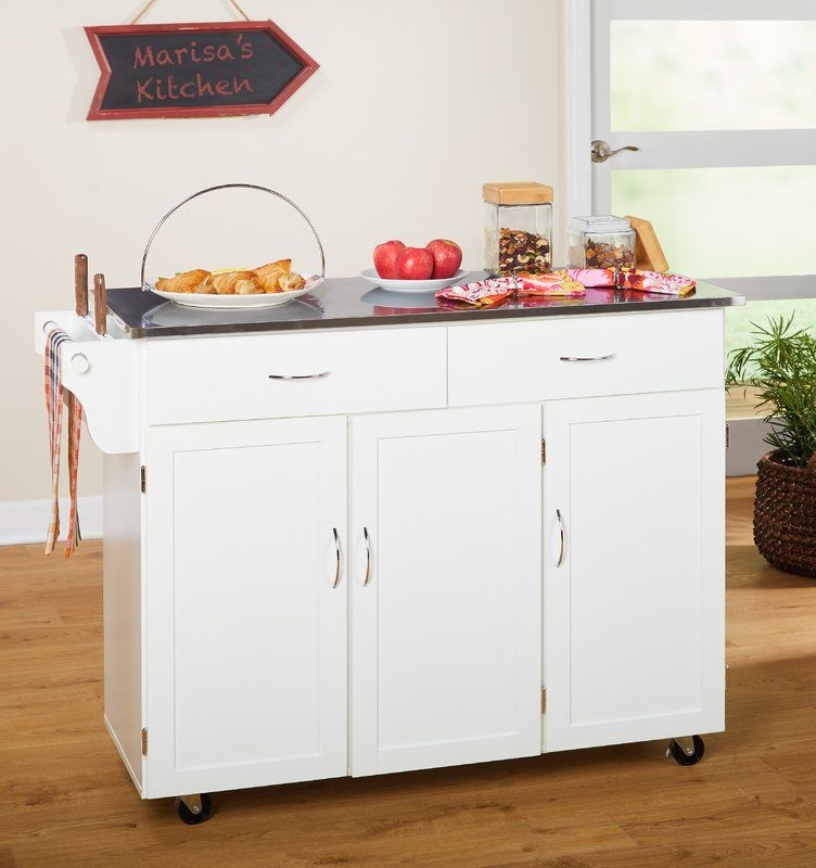 Garrettsville Kitchen Island With Stainless Steel Top