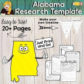 Alabama State Research Report Project Template with bonus timeline - science project report