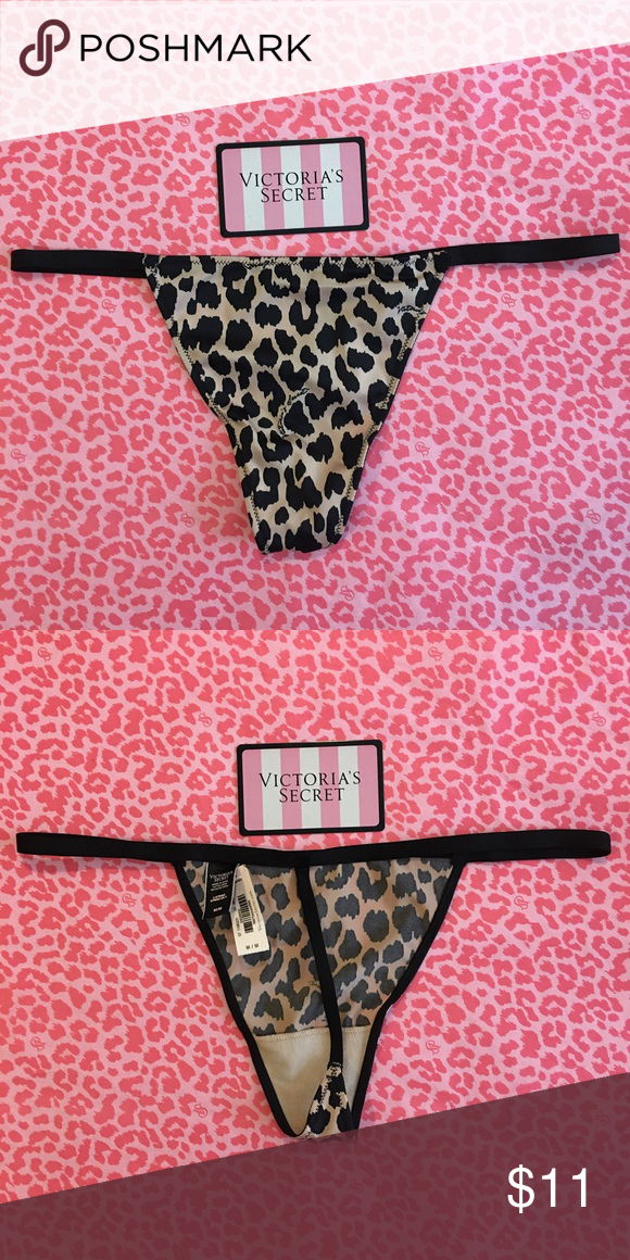 NWT Victoria's Secret V-String Thong NWT Victoria's Secret V-String Thong , Size Medium, Leopard Cheetah Black Strappy. Victoria's Secret Intimates & Sleepwear Panties