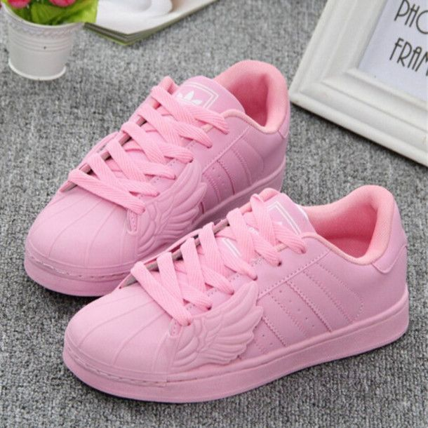 There is 1 tip to buy these shoes: pink pink inspiration adidas adidas  superstars superstar wings pink sneakers low top sneakers.