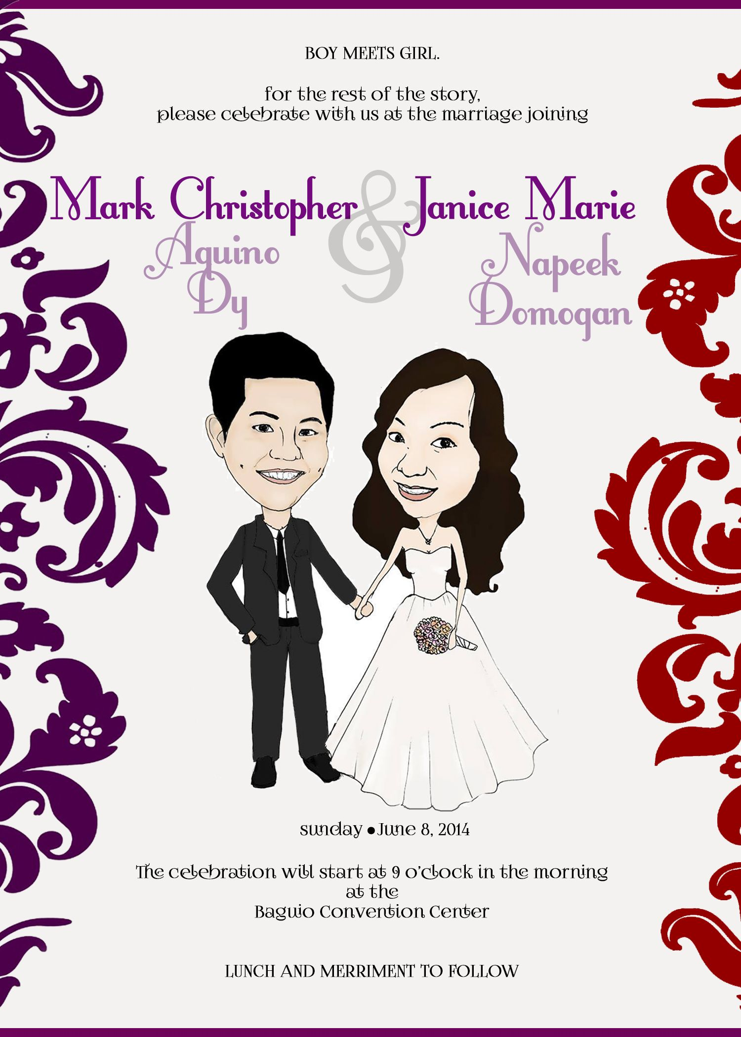 wedding caricature invitation sample | pre-nup and wedding ideas ...