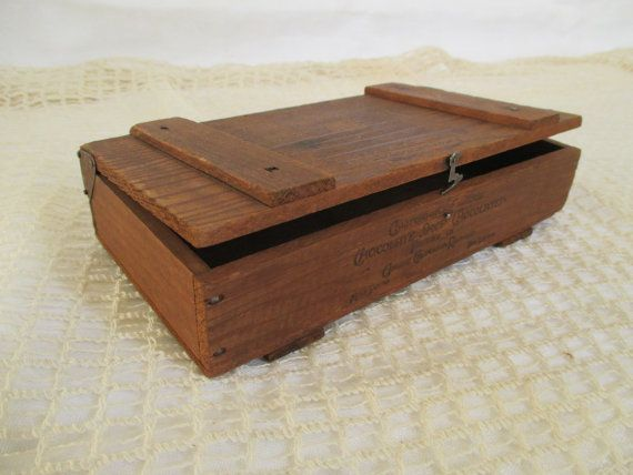 Vintage Wooden Chocolate Box California Famous Chocolate Shop