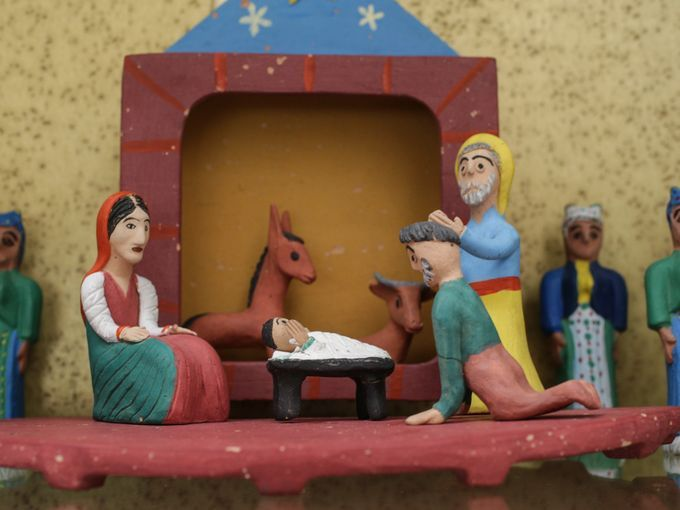 Greek folk art, given by the Miller children to their parents, on display at the Miller House and Gardens. Miller House by Saarinen & Girard #creche #christmasdecorations