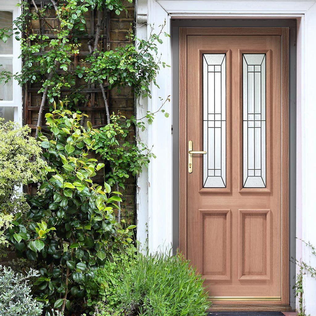 Malton Oak Door and Frame - Black Caming Tri Glazing ...