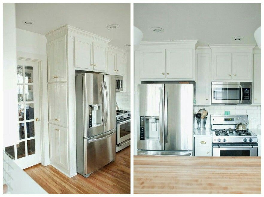 Fridge Next To Stove With Small Cabinet For Pans Between And
