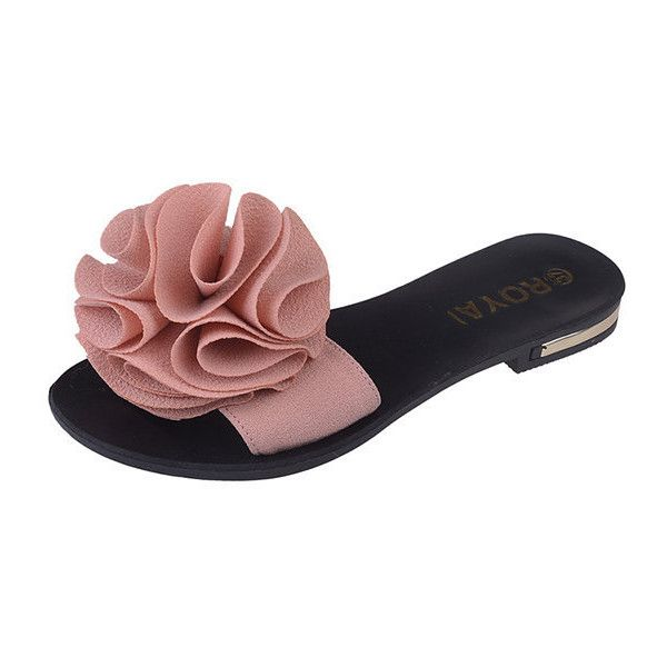 Flower Clip Toe Casual Beach Flat Flop Flips (€11) ❤ liked on Polyvore featuring shoes, sandals, flip flops, pink, flat shoes, open toe flats, flower flip flops and evening sandals