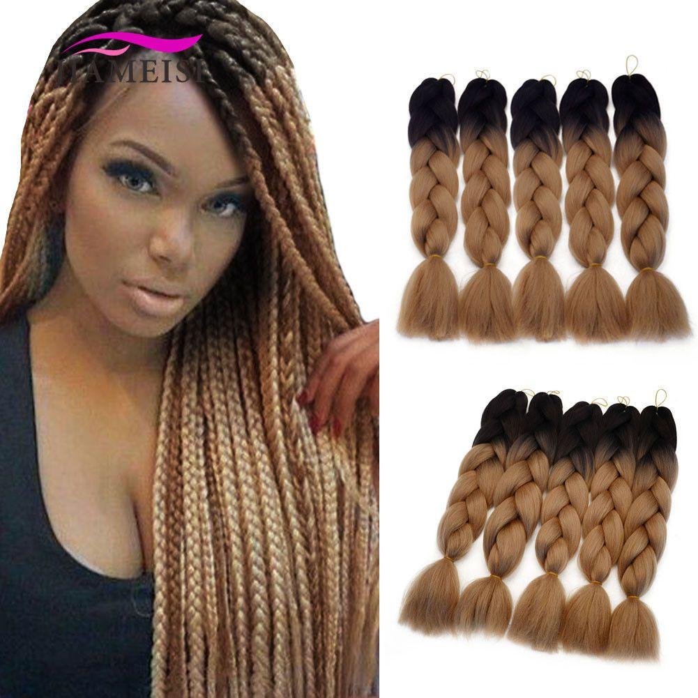 5pcs Pack Ombre Light Brown Synthetic Braiding Hair Jumbo Braids