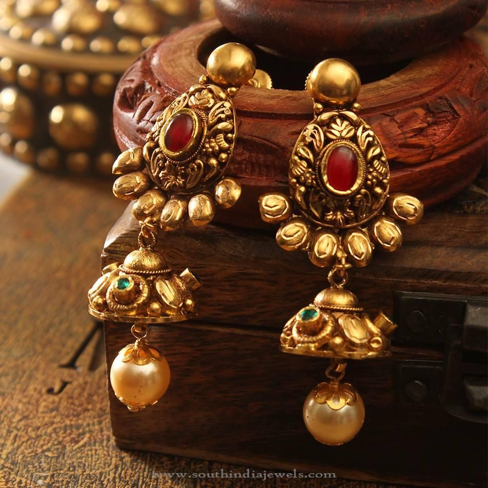 Top 25 Indian Antique Jewellery Designs For Women: Antique Gold Earrings With South Sea Pearls