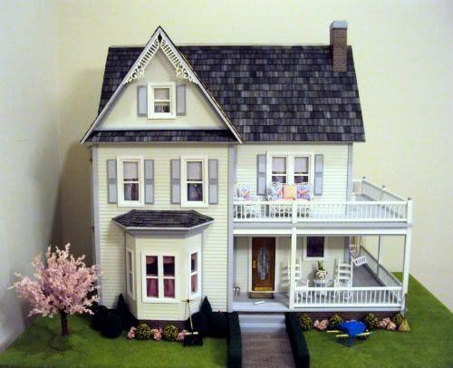 A beautifully finished victoria 39 s farmhouse dollhouse kit for Farmhouse kit homes