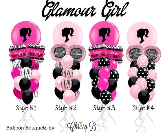 Pink and Black Balloon Bouquet – Giant 36″ Balloon Custom Imprinted Barbie-Inspired Silhouette Mixed with Hot Pink or Light Pink and Black