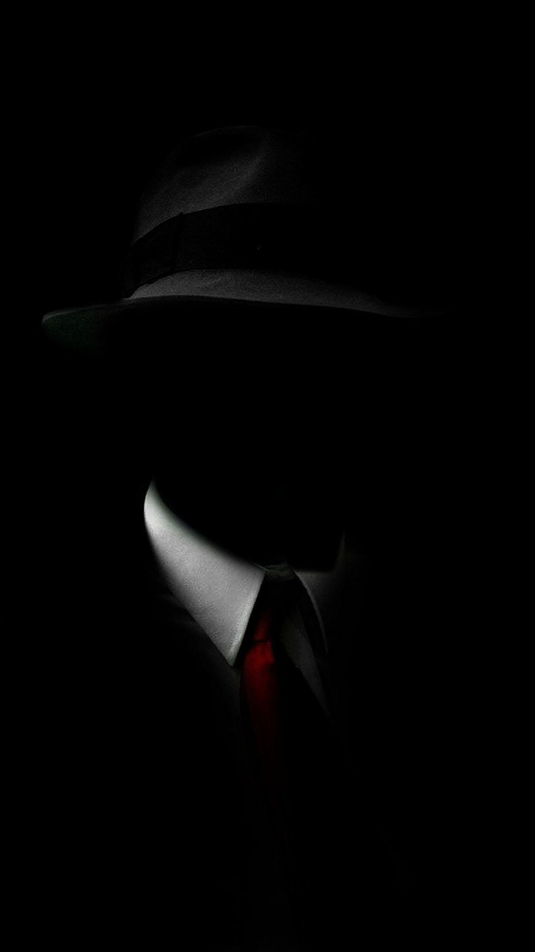 shadow man black suit hat red tie iphone 6 plus hd