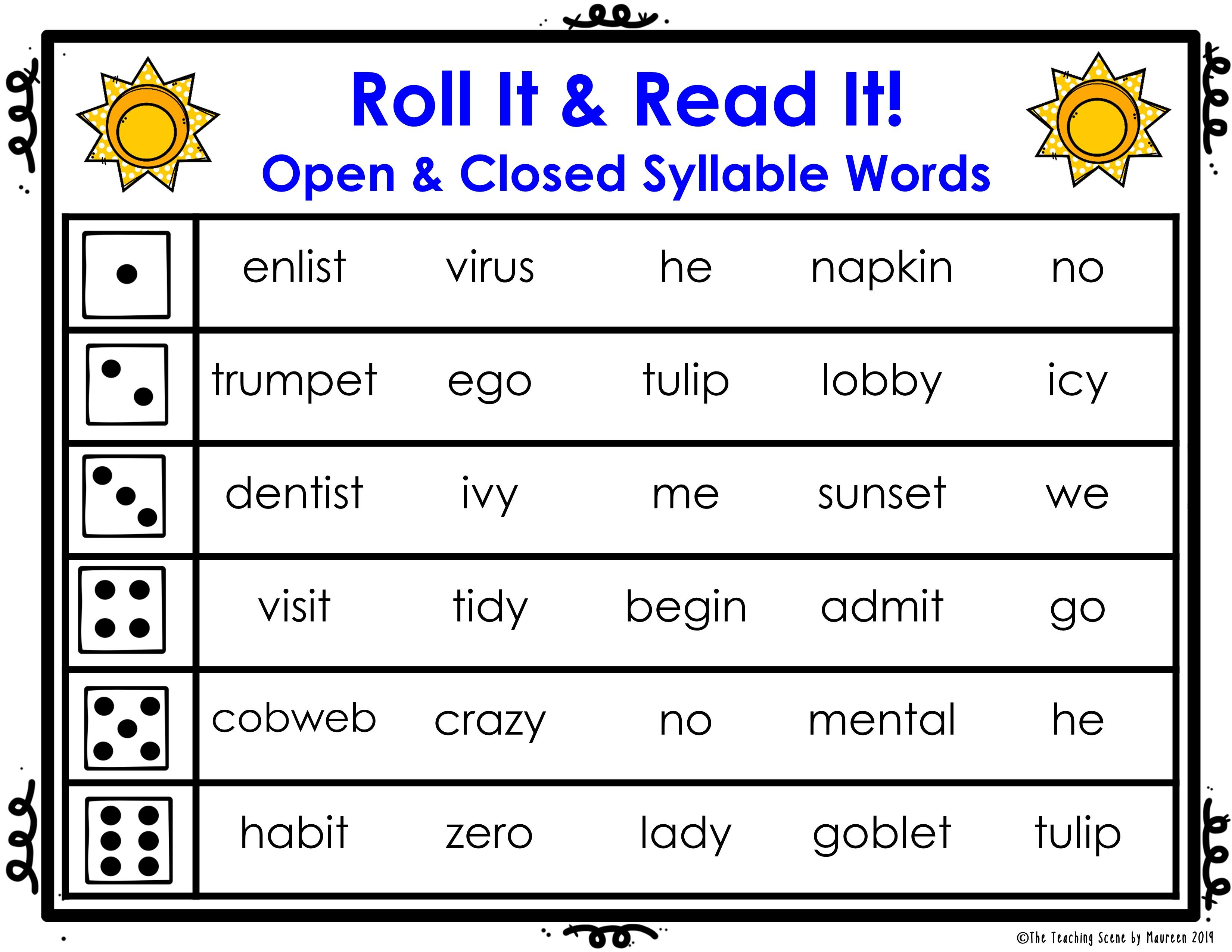 Open Closed Syllables Roll It Read It Game Cards Plus Posters In 2020 Magic E Words Vowel Team Words Phonics Activities