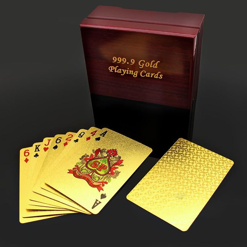 Luxury Playing Cards 24k Gold Plated Full Poker Deck Pure Included Wooden Box