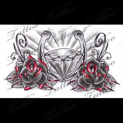 Marketplace Tattoo Old School Roses Horseshoe Diamonds 6829 Createmytattoo Com Chest Piece Tattoos Diamond Tattoo Designs Tattoo Designs