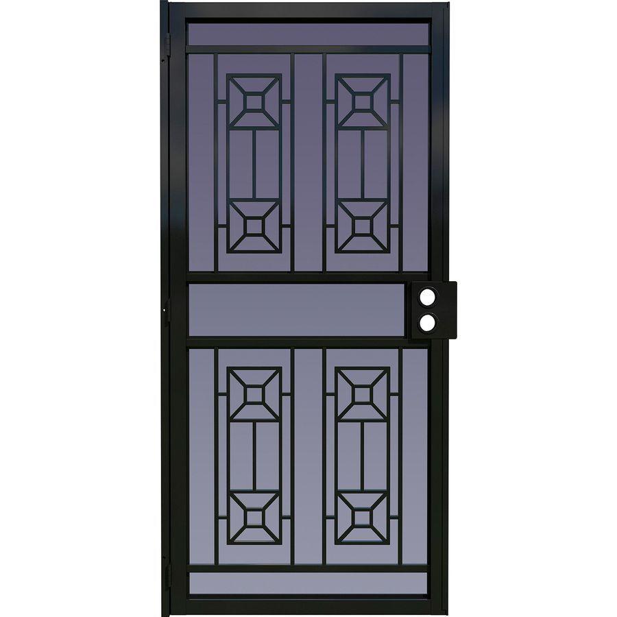 Shop Larson Matrix Black Steel Security Door Common 36 In X 81 In Actual Security Door Security Storm Doors Steel Security Doors