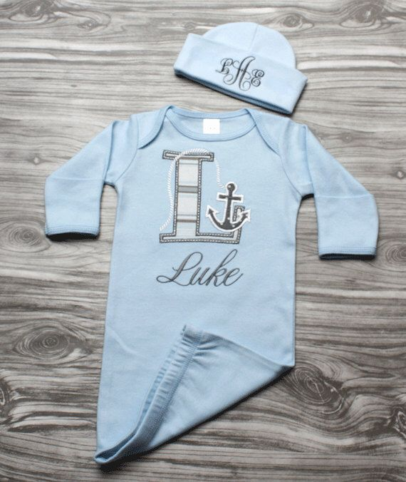 Baby boy coming home outfit nautical newborn baby gift blue and baby boy coming home outfit nautical newborn baby gift blue and gray anchor letter personalized gown negle Images