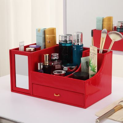 PU Leather Cosmetics Make UP Storage Tissue Box Wood MDF Makeup