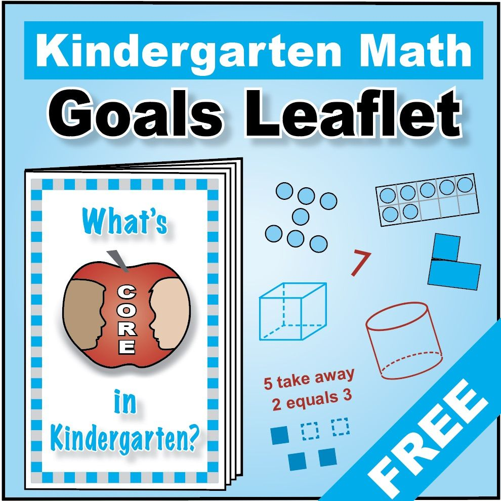 "Grade K Kindergarten FREE ""I Can"" Leaflet of Goals for Common Core ..."