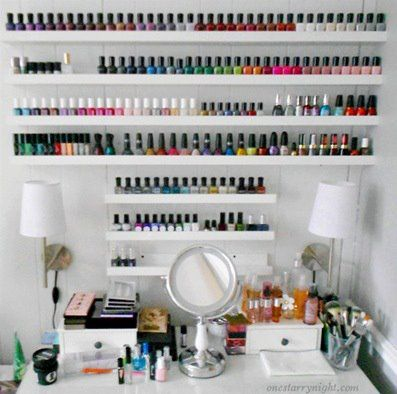 I Want To Get An Ikea Shelf Like This. I Only Need One Though (for Now) :)  Nail Polish Shelf Storage *** Photo Shelves From IKEA