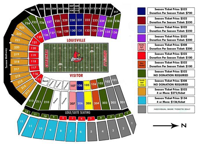 Louisville cardinal stadium seating chart papa john s cardinal