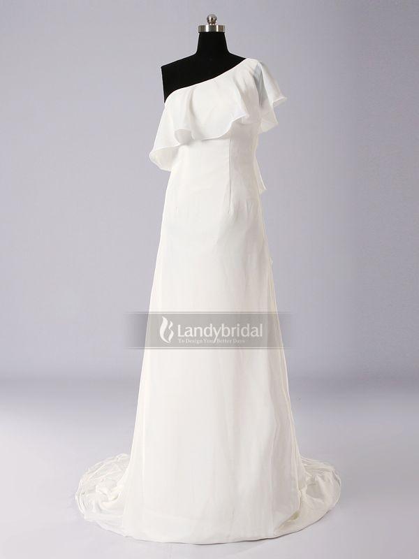 ランディブライダル ウェディングドレス ワンショルダー スレンダーライン コートトレーン シフォン アイボリー フリル H4lblb2932g