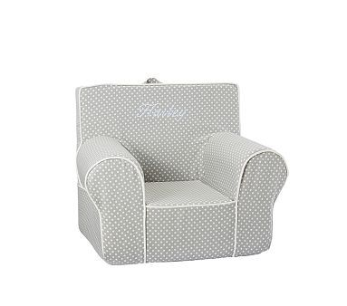 Gray Mini Dot With White Piping Anywhere Chair Pbkids 4