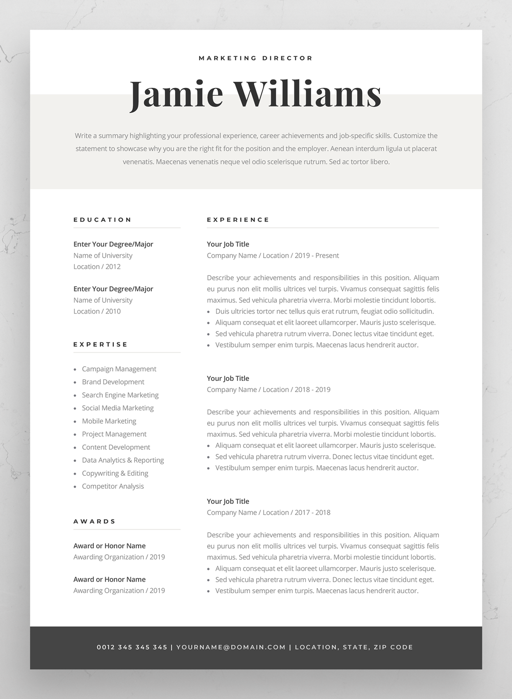 Modern Resume Template Creative CV for Word Elegant