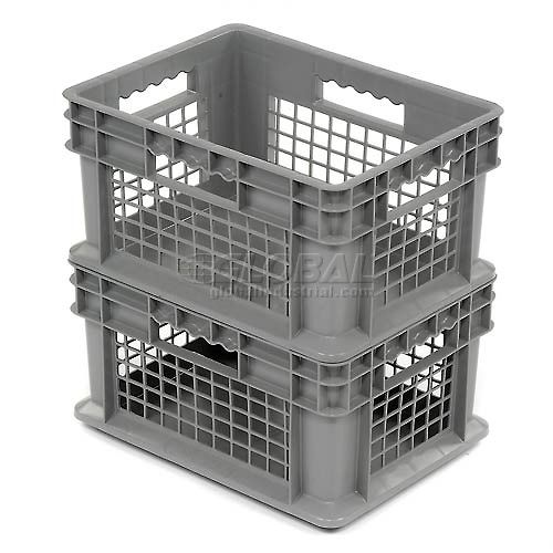 Akro Mils Straight Wall Container 37278 Mesh Sides Solid Base 15 3 4 Quot L X 11 3 4 Quot W Plastic Box Storage Plastic Container Storage Plastic Storage Bins